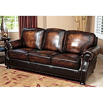 Amazon Com Luke Leather Solomon Sofa Kitchen Amp Dining