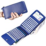 Long Bifold Wallet Womens with Credit Card Holder Long Zipper Purse Leather Wallet Phone Coin Pocket Pabojoe