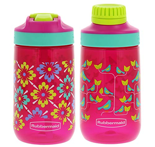 Rubbermaid Kids Water Bottle Sip, Chug – Leak-Proof Reusable Container – Help Keep Your Kids Hydrated – BPA-Free – Equipped with Protective Spout Cover – 14 Ounces, Flowers with Birds, 2 Pack