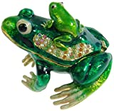 Toygalera Green Frog Crystals Jewelry Trinket Ring Box