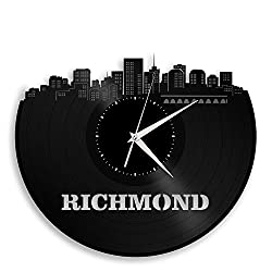 VinylShopUS Richmond Virginia Vinyl Wall Clock City Skyline Unique Gift