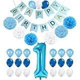First Birthday Decoration, Coxeer Happy Birthday Banner Creative Party Balloon with Number 1 Balloon Tissue Pom Pom