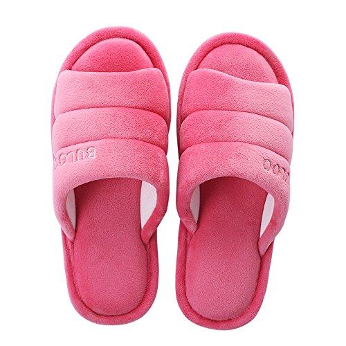 Y-Hui Invierno y hogar de invierno zapatillas, Lady amantes, zapatillas de algodón, los hombres de color sólido del Piso Piso a prueba de deslizamiento en invierno Rose red