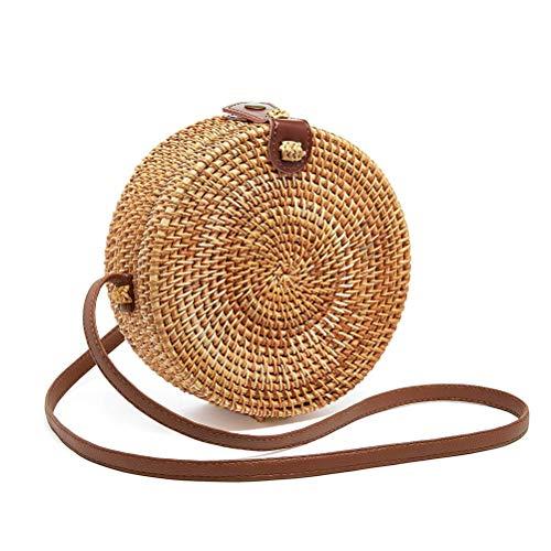 (Round Rattan Bags Women Round Handwoven Straw Bag Leather Crossbody Shoulder Strap Handbag Summer Beach Bag)