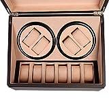 Utheing Watch Winder Display Box, 4+6 Slot PU Leather Watch Storage Case Organizer, Automatic Watch Winder