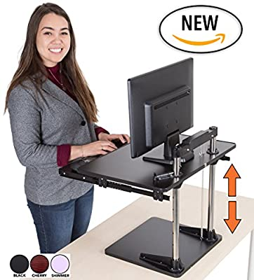 The UpTrak Metro Standing Desk & Bonus Keyboard Tray | Sit-to-Stand Desk Converter by Award-Winning Stand Steady | Spring-Assisted LIFT! Height Adjustable Sit Stand Desk!