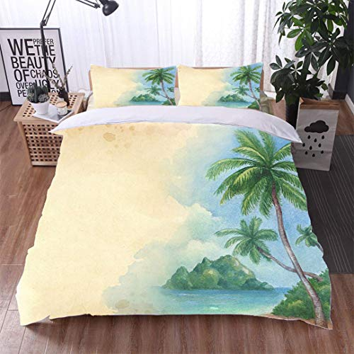 VROSELV-HOME Cotton Bedding Sets,Watercolor Background with Illustration of The Tropical Beach,Soft,Breathable,Hypoallergenic,Print Queen 1 Duvet Cover 2 Pillowcases Wrinkle Fade Resistant