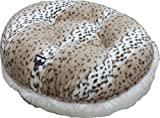 BESSIE AND BARNIE 42-Inch Bagel Bed for Pets, Large, Snow Leopard/Snow White