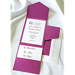 All-in-One Pocket Invitation Kit - Purple Shimmer Elegance - Pack of 20