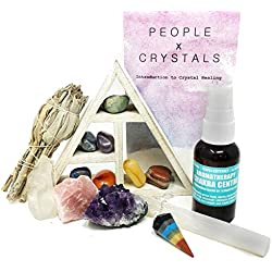 15 pcs Chakra Crystal Healing Kit! / Lot of Chakra tumbles, Amethyst Cluster, Raw Stones, Sage, Meditation Spray + More. Bohemian Gift Set!