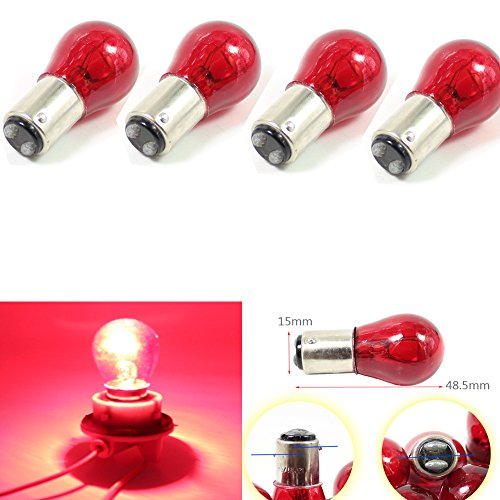 Light Dual Filament Replacement Bulb (keyecu 4 Pieces Red 1157 BAY15D S25 12V 21/5W Car Replacement Bulb Double Contact Brake Stop Light with Dual Filament)