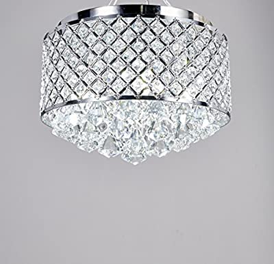 Broadway Silver Classic Crystal Chandeliers Modern Lamps Pendant Light Flush Mount Ceiling Fixture BL-ABJ/X-L4 W14 X H14 Inch