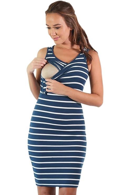 BOZEVON Mujeres Verano Ropa de Lactancia Vestidos Maternidad Embarazadas Madres Prenatales y Postnatales Cuello Redondo Raya Sin Mangas Casual Vestido ...