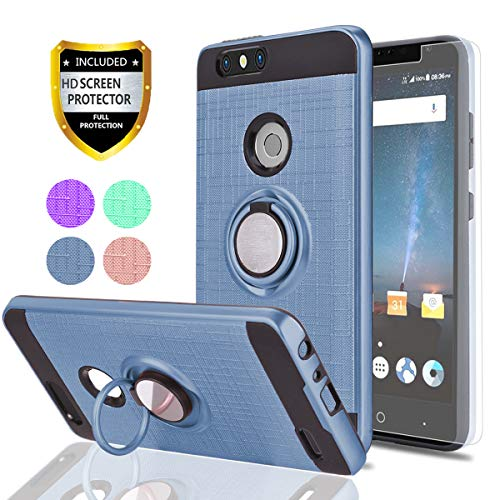 ZTE Blade Z Max/Blade Zmax Pro 2/ Sequoia Case with HD Screen Protector,Ymhxcy 360 Degree Rotating Ring & Bracket Rubber Dual Layer Shock Bumper Resistant Back Cover for ZTE Z982-ZH-Metal Slate-1
