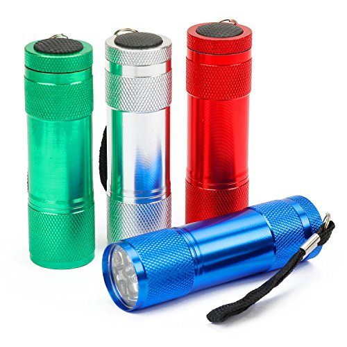 FASTPRO 4-pack Mini Aluminum LED Flashlights Set, 12-piece AAA Batteries Included and Pre-installed (Green Pack Aaa 4)