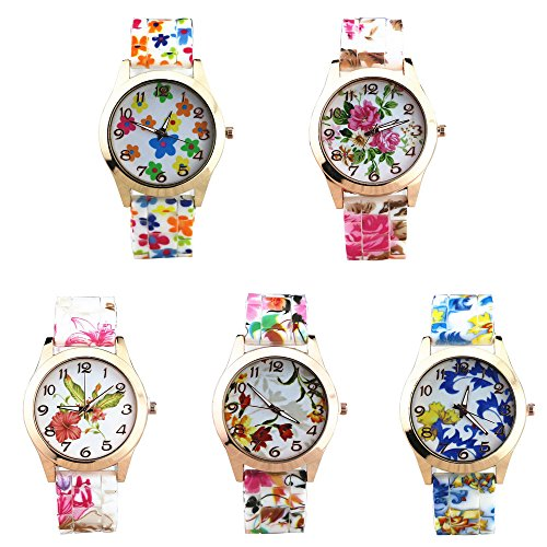 Analog Floral Dial (CdyBox Women Ladies Girls Floral Dial Silicone Band Analog Watches Rose Gold Tone Numbers (5 Pack))