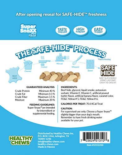 Healthy Chews Super SnaXX Mini Braids Gluten Free Dog Treats, Peanut Butter & Banana, Made with Safe-Hide