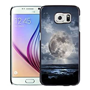 NEW Unique Custom Designed Samsung Galaxy S6 Phone Case With Super Moon Over Sea_Black Phone Case