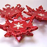 Scandinavian pottery Snowflakes red & white ceramic candleholders or soap dish -- set of 3