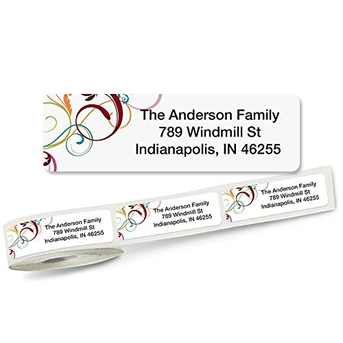 Colorful Address Labels (Fantasia Rolled Address Labels Roll of 250)