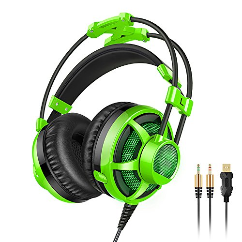 Pevor Gaming Headset with Mic for PC PS4 New Xbox One, Bass Over-Ear Game Headphones with Microphone, Soft Earmuffs, LED Lights and Easy Volume Control for Laptop Mac iPad Computer Video Game (green)