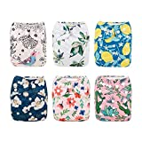 Babygoal Baby Cloth Diapers,Reusable Washable Pocket Nappy, 6pcs+6 Inserts+4pcs 4-layer Bamboo Inserts,Girl color 6FG09-CA