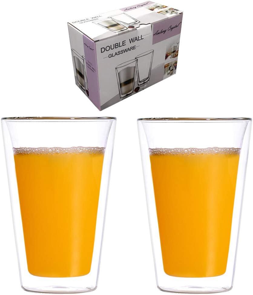 Amlong Crystal Lead-Free Double Wall Glass Tumbler Highball Glass for Beer/Cocktail/Lemonade/Iced Tea, 14 oz, Set of 2