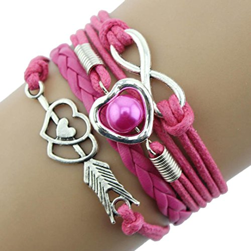 Funic 1PC Cupid's Arrow of Love Multilayer Leather Pearl Bracelet Adjustable Bracelet (Hot Pink)