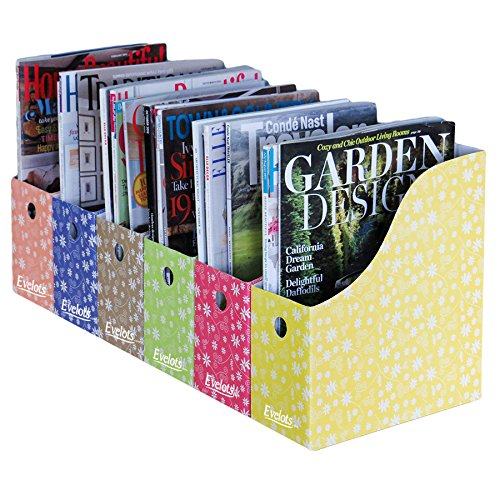 Evelots 6 Magazine/File Holders & Adhesive Labels, Multi-Colored Floral Design