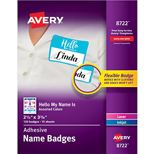 Avery Self-Adhesive Removable Hello My Name is Name Tags, Assorted Colors, 2-1/3