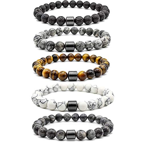 - Mjartoria 5pcs Natural Tiger Eye Stone Magnetic Hematite Healing Therapy Beads Lava Stone Aromatherapy Essential Oil Diffuser Macrame Adjustable Braided Link Bracelets Set