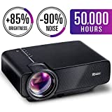 Ragu 2018 Upgraded(+85% Brightness) Projector, 130'' Mini Home Movie Video Projector with 90% Reduction Noise 50,000Hours Support 1080P/HDMI/VGA/USB/AV/SD for PC/MAC/DVD/Movies/Games/Smartphone