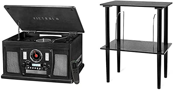 Victrola Navigator 8-in-1 Classic Bluetooth Record Player with USB Encoding and 3-Speed Turntable Bundle with Victrola Wooden Stand for Wooden Music Centers with Record Holder Shelf, Black