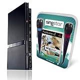 PlayStation 2 - PS2 Konsole, black + SingStar Pop Hits (inkl. Mikrofone)