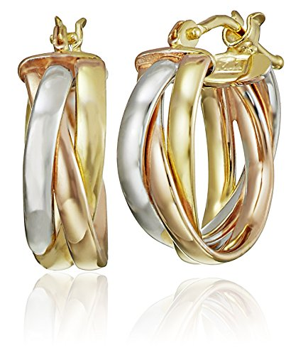 14k Gold Italian Tri-Color Round Woven Tube Hoop Earrings