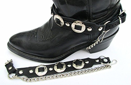 - Western Biker Boot Chains Black Leather with Triple Nickel Conchos