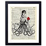 Victorian Octopus Lady Upcycled Vintage Dictionary Art Print 8x10
