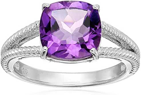 Sterling Silver Cushion Amethyst Double Band Ring