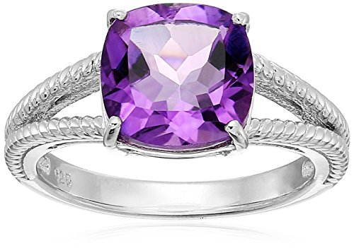 Silver Double Cushion (Sterling Silver Cushion Amethyst Double Band Ring, Size 6)
