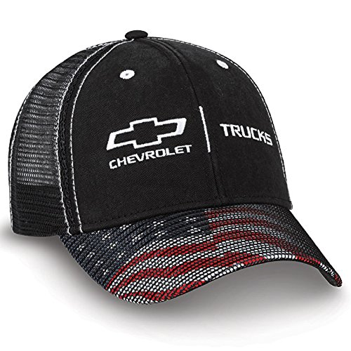 (Chevy Trucks American Flag Black Twill & Mesh Hat )
