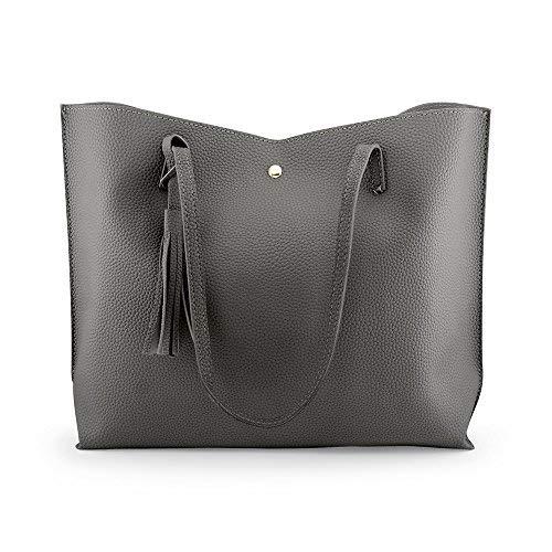 OCT17 Women Tote Bag - Tassels Faux Leather Shoulder Handbags, Fashion Ladies Purses Satchel Messenger Bags (Dark Gray) by OCT17 (Image #4)