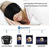 Bluetooth Sleeping Eye Mask Headphones, LC-dolida Wireless Music Bluetooth Sleep Eye Shades Headset Earphone Built-In Speakers Microphone Washable Black