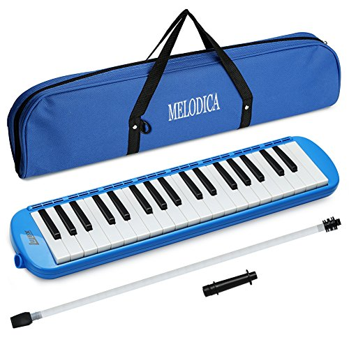 Lujex 32-Key Melodica,Entry Level Melodica Piano Portable Standard Tone Musical Education Instrument for 2+Years Old Kids/Beginner Gift with a Carrying Bag (Blue) by Lujex