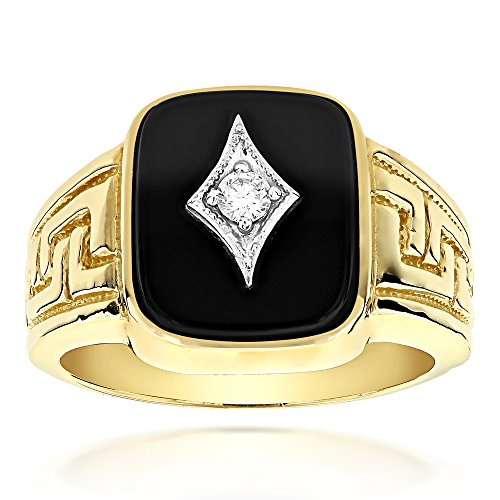(Luxurman Mens 14k Natural Black Onyx and 0.1 Ctw Diamond Ring For Him (Yellow Gold Size 12.5))