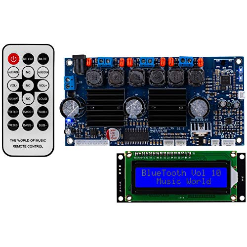 Parts Express 2.1 Amplifier 50W x 50W x 100W with Built-in Bluetooth 3.0 Backlit LCD Screen, and IR Remote