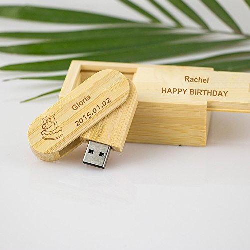 LIWUYOU Personalized Custom Text Name LOGO Wood Rounded Corner Swivel Design USB 2.0 Flash Drive Retail Wooden Box Business Christmas Small Gift,32GB