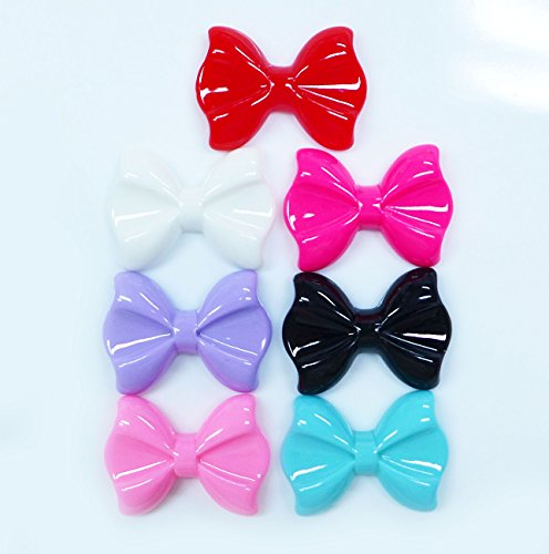 LOVEKITTY 7 pcs Bows Cute Resin Flat Back Kawaii Cabochons