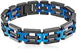 Men's Black and Blue Ip Stainless Steel and Cubic Zirconia Bracelet