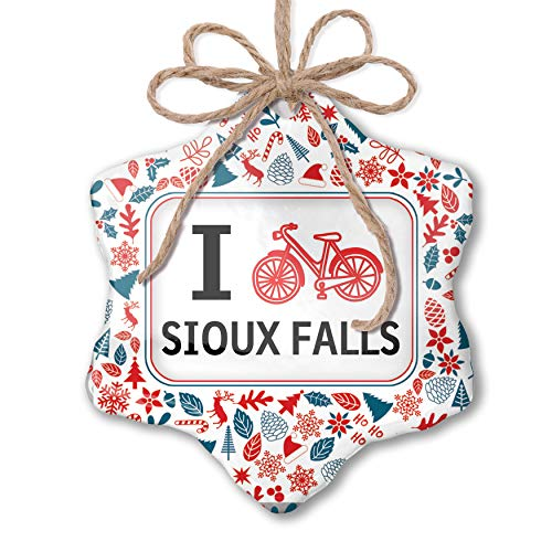 NEONBLOND Christmas Ornament I Love Cycling City Sioux Falls Red White Blue Xmas ()