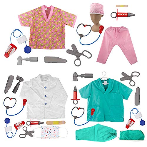 TOPTIE Doctor Nurse Role Play Set Dress Up Surgeon Costumes Set for Kids Great Gift Idea-3 Sets-S]()